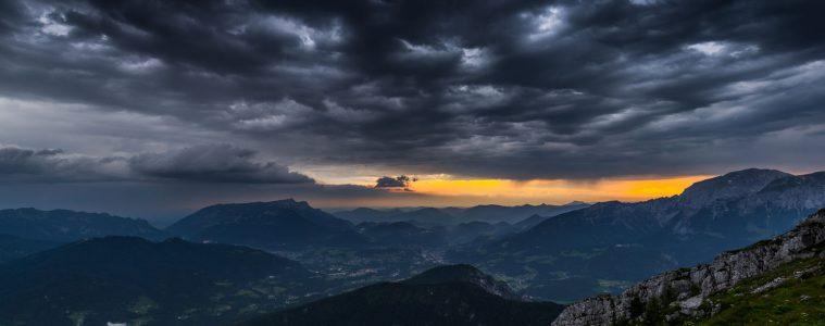 Unwetter von der Watzmannhütte aus fotografiert