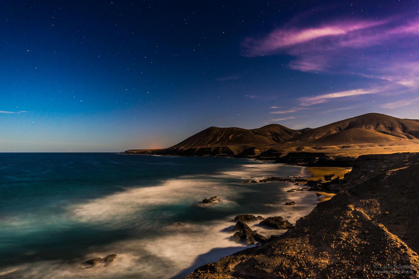 Westküste von Fuerteventura bei Nacht